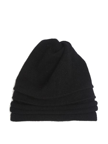Black Knitted Plain Casual Hat