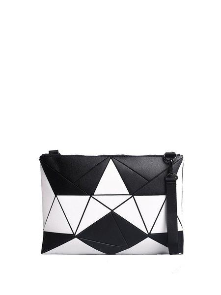 Zipper Medium Statement Geometric Color-block Clutch