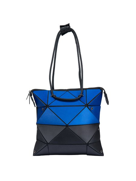 Geometric Color-block Statement PU Zipper Medium Shoulder Bag