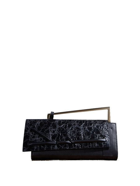 Small Statement Cowhide Leather Snap Clutch