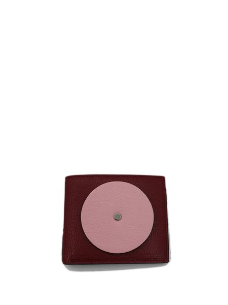 Pink Mini Cowhide Leather Color-block Sweet Wallet