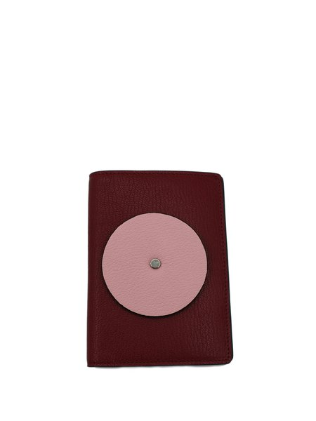 Pink Mini Sweet Color-block Cowhide Leather Coin & Card Case