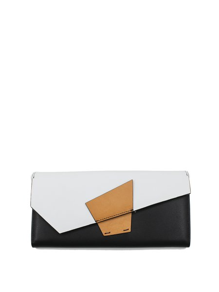 Black-white Casual Color-block Cowhide Leather Small Wallet