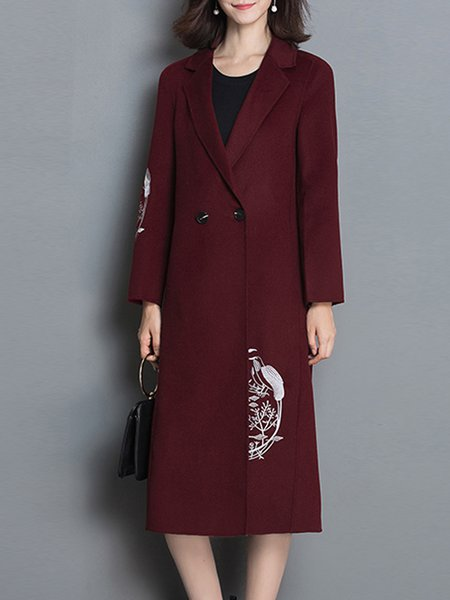 Wine Red Long Sleeve H-line Embroidered Coat