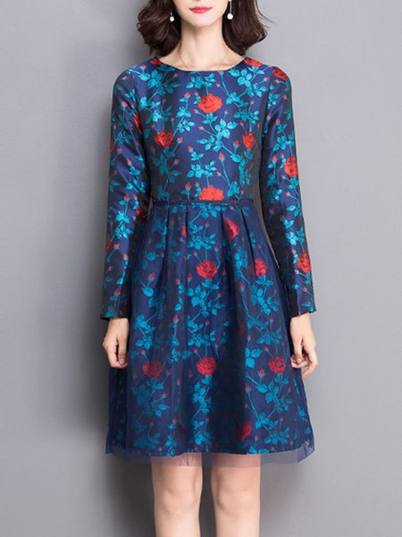 Blue Long Sleeve Vintage Floral-print Midi Dress