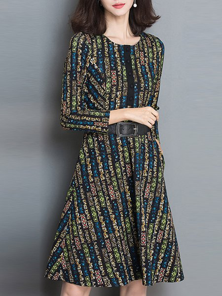 Blue Crew Neck Vintage Printed Midi Dress with Belt