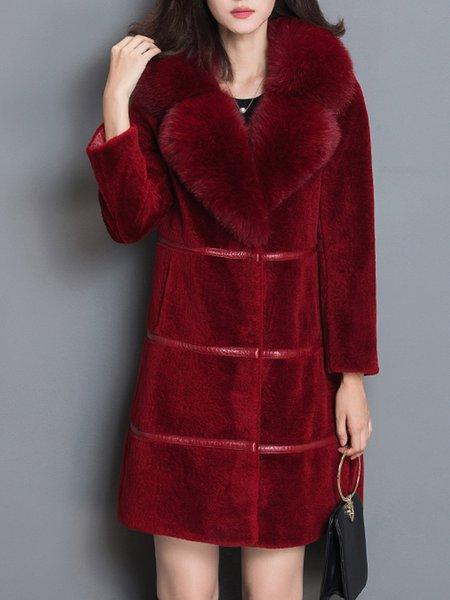 Pockets Plain Long Sleeve Fur And Shearling Coat