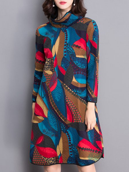 Multicolor Printed Long Sleeve Turtleneck Midi Dress