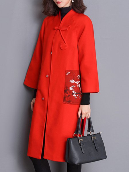 Red Slit Plain Long Sleeve Vintage Coat