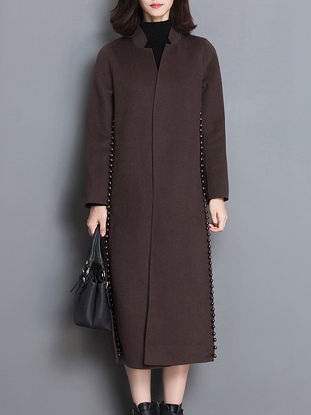 Coffee Beaded Long Sleeve Stand Collar A-line Coat with Belt