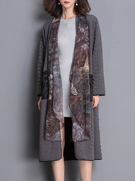 Gray Long Sleeve Pockets Shift Coat