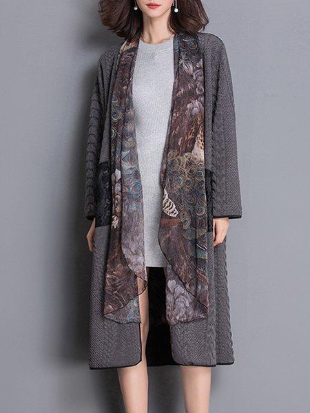 Gray Long Sleeve Pockets Shift Coat