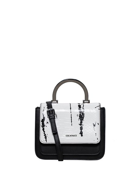 Black Cowhide Leather Casual Magnetic Metal Handle Crossbody Bag