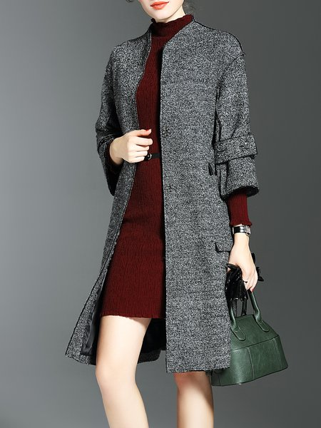 Wool Blend 3/4 Sleeve Stand Collar Elegant Coat