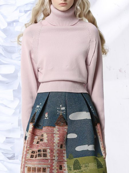 Turtleneck Ruffled Casual Solid Long Sleeve Sweater