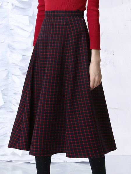 Navy Blue Elegant Checkered/Plaid Midi Skirt