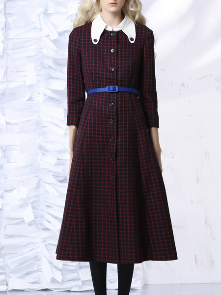 Navy Blue Elegant Checkered/Plaid Midi Dress