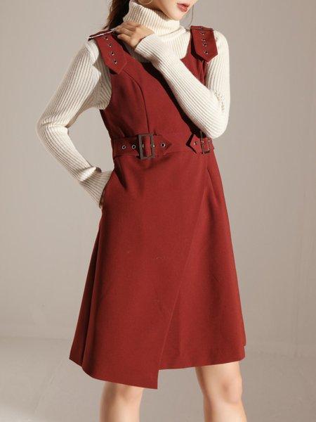 Red Square Neck A-line Spaghetti Polyester Midi Dress