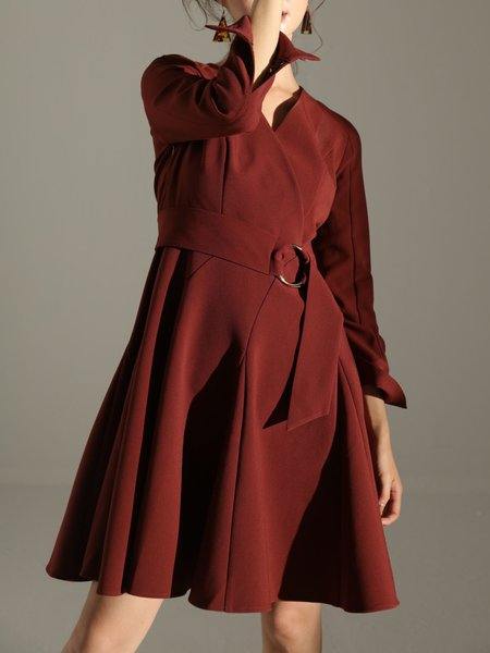 Wine Red Folds A-line Long Sleeve Midi Dress