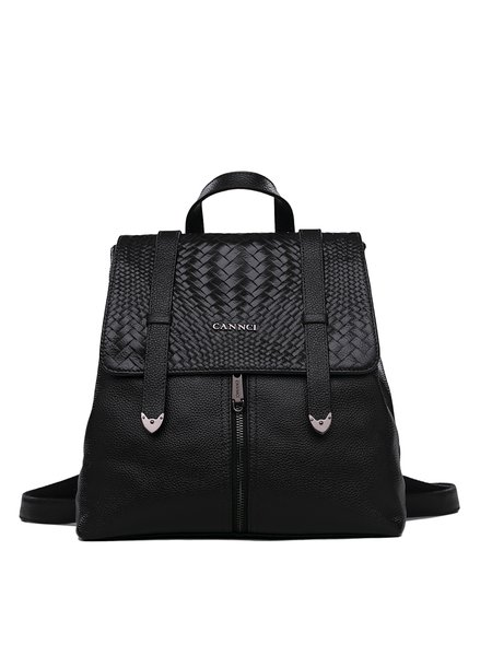 Black Braided Cowhide Leather Magnetic Backpack