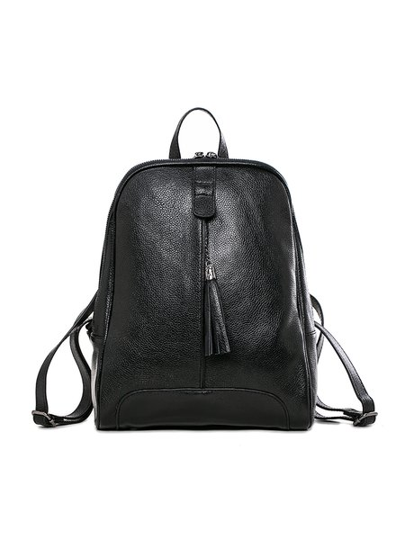 Black Casual Zipper Cowhide Leather Backpack