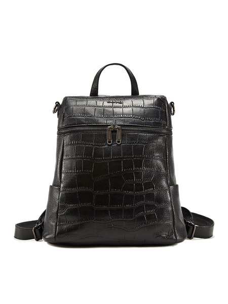 Black Cowhide Leather Medium Backpack