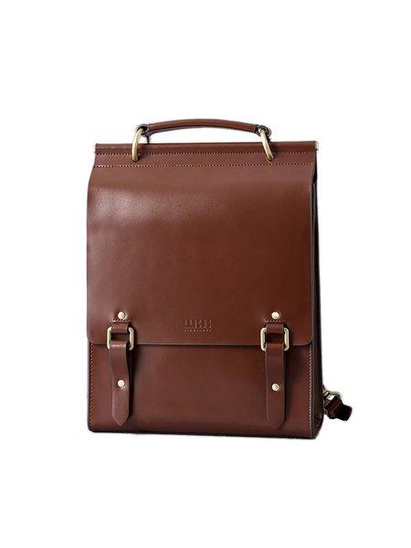 Brown Casual Cowhide Leather Medium Backpack