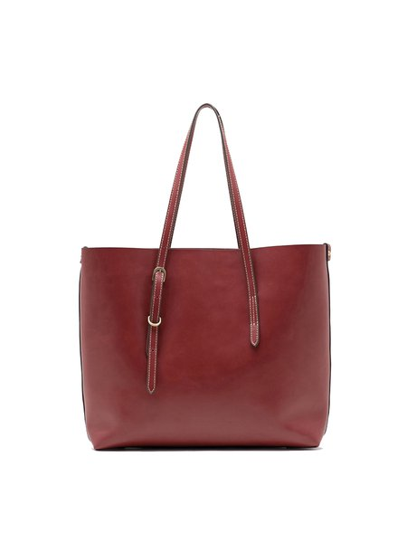 Cowhide Leather Retro Medium Open-top Tote