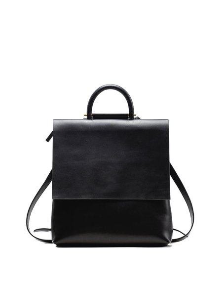 Black Large Solid Cowhide Leather Casual Backpack