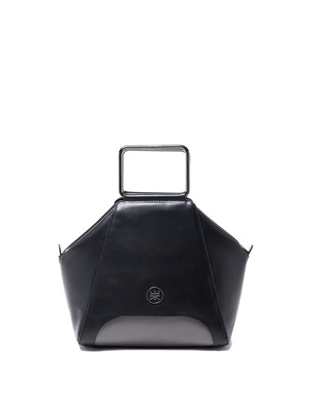 Black Cowhide Leather Metallic Top Handle