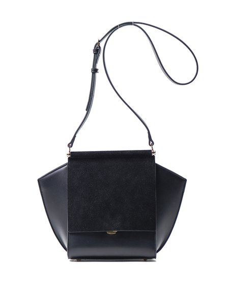 Black Push Lock Cowhide Leather Shoulder Bag
