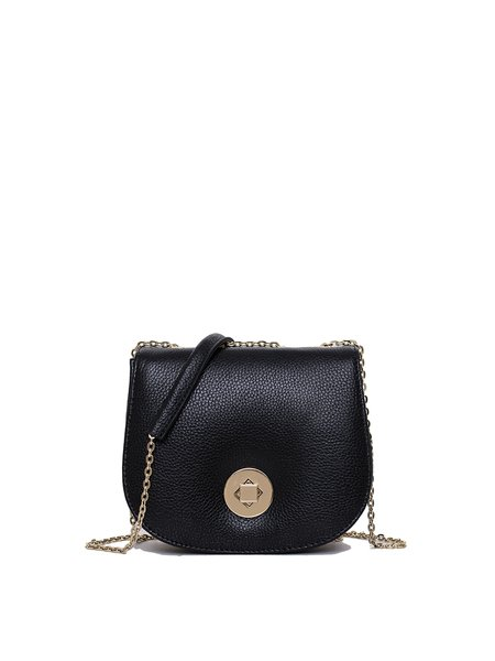 Mini Cowhide Leather Casual Twist Lock Crossbody