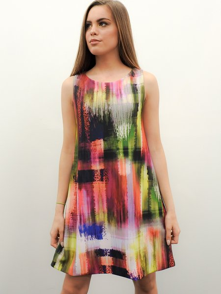 Abstract Printed Casual Sleeveless Crew Neck Scuba Mini Dress