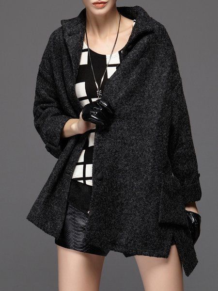 Black Solid Stand Collar Casual Wool Blend Coat