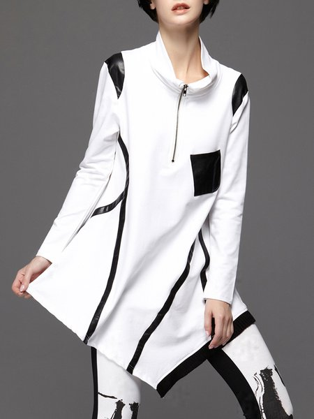 White Color-block Asymmetrical Cotton-blend Casual Sweatshirt