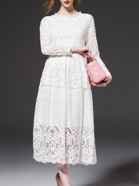 Floral Stand Collar Vintage Long Sleeve Guipure Lace Midi Dress