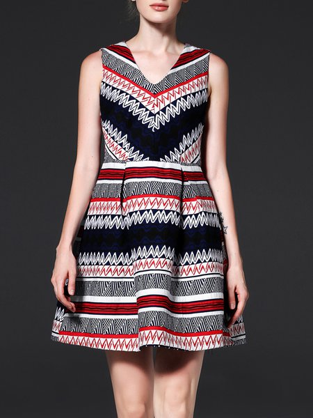 Multicolor Sleeveless Folds Graphic Jacquard V Neck Mini Dress