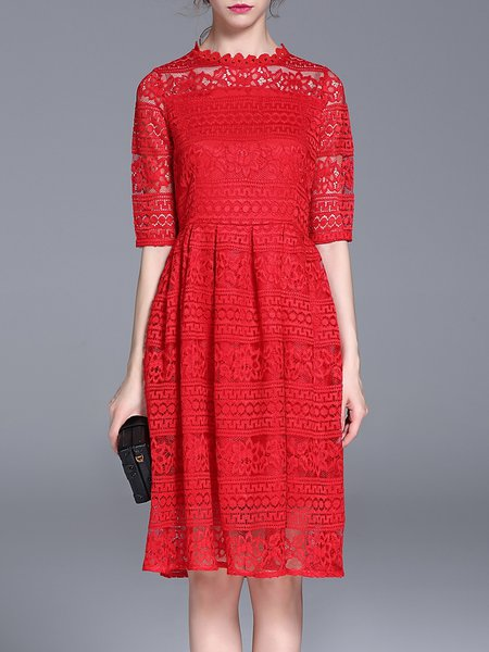 Red Stand Collar Half Sleeve Lace Guipure Lace Midi Dress
