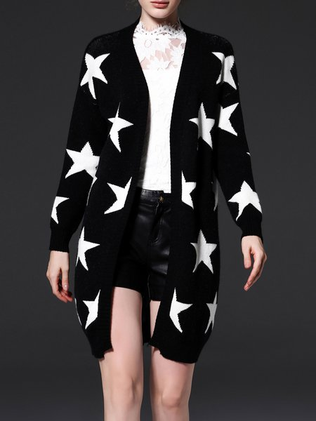 Star Printed Casual Long Sleeve H-line Knitted Cardigan