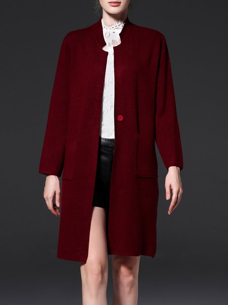 Wine Red Knitted H-line Simple Pockets Coat