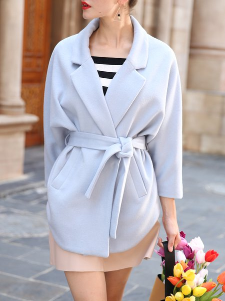Lapel Simple Solid Wool Blend Batwing Coat with Belt