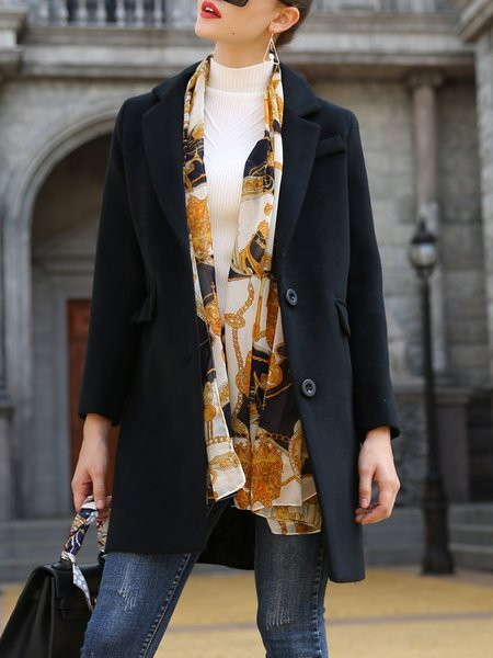 Simple Solid Lapel Long Sleeve Wool blend Coat