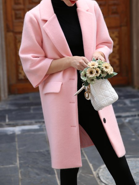 Wool Blend 3/4 Sleeve Slit Symmetric Simple Coat