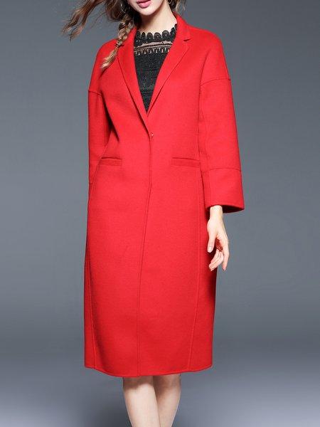 Red Symmetric Wool Blend Lapel Simple Coat