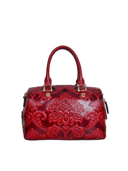Wine Red Embossed Cowhide Leather Retro Zipper Top Handle