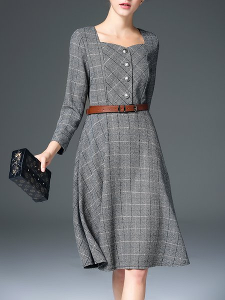 Gray A-line Checkered/Plaid 3/4 Sleeve Midi Dress