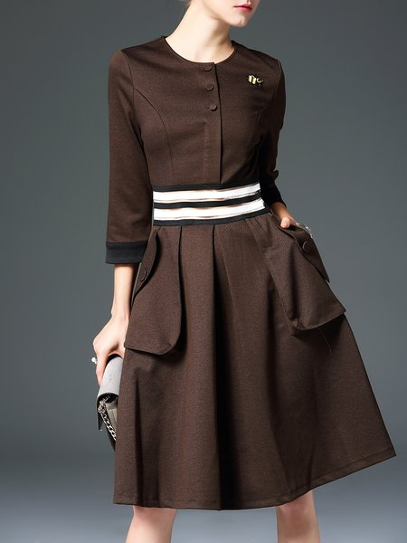 Brown 3/4 Sleeve A-line Pockets Solid Midi Dress