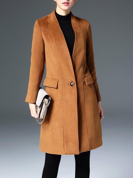 Pockets Buttoned Solid Elegant Coat