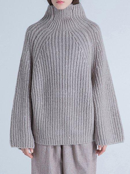 Apricot Raglan Sleeve Turtleneck Sweater