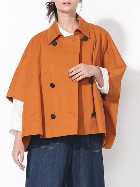 Orange Plain Batwing Poncho And Cape